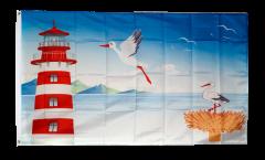 Flagge Leuchtturm und Storch