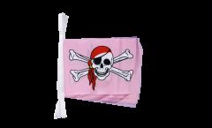 Fahnenkette Pirat pink - 15 x 22 cm
