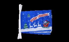 Fahnenkette Merry Christmas Weihnachtsmann mit Schlitten - 30 x 45 cm