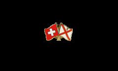 Freundschaftspin Schweiz - Großbritannien Jersey - 22 mm