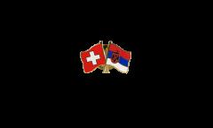 Freundschaftspin Schweiz - Serbien mit Wappen - 22 mm