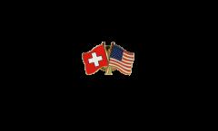 Freundschaftspin Schweiz - USA - 22 mm