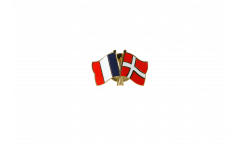 Freundschaftspin Frankreich - Dänemark - 22 mm
