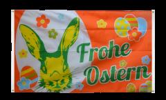 Balkonflagge Frohe Ostern orange mit Osterhase - 90 x 150 cm