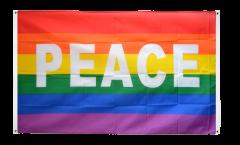 Balkonflagge Regenbogen mit PEACE - 90 x 150 cm