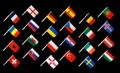 Stockfahnen Set EM 2016 - 60 x 90 cm