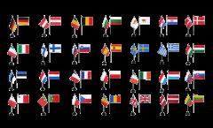 Tischfahnen Set Europäische Union EU 28 Staaten - 10 x 15 cm