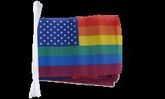 Fahnenkette USA Regenbogen - 15 x 22 cm