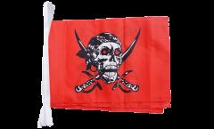 Fahnenkette Pirat auf rotem Tuch - 30 x 45 cm