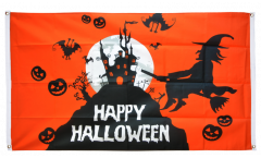 Balkonflagge Happy Halloween orange - 90 x 150 cm