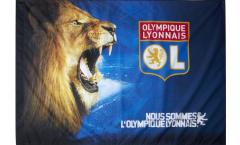 Flagge mit Hohlsaum Olympique Lyon Löwe  - 100 x 140 cm
