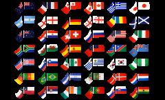 Stockflaggen-Set Fussball 2010, 32 Nationen - 60 x 90 cm