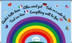 Balkonflagge Alles wird gut - Regenbogen - 90 x 150 cm