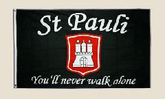 Flagge Fanflagge St. Pauli - You'll never walk alone - 90 x 150 cm