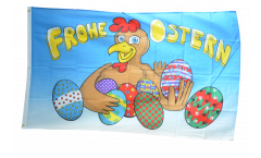 Flagge Frohe Ostern Henne und Eier