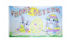 Flagge Frohe Ostern mit Blumenwiese