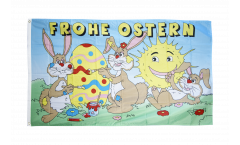 Flagge Frohe Ostern mit lachender Sonne - 90 x 150 cm