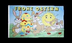 Flagge Frohe Ostern mit lachender Sonne