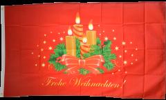 Flagge Frohe Weihnachten mit Adventskranz - 90 x 150 cm