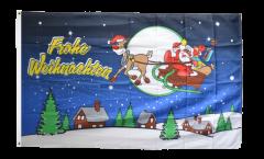 Flagge Frohe Weihnachten Rentier und Weihnachtsmann - 90 x 150 cm
