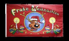 Flagge Frohe Weihnachten Rentierkopf