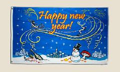 Flagge Happy New Year mit Schneemann - 90 x 150 cm