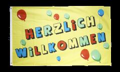 Flagge Herzlich Willkommen - 90 x 150 cm