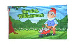 Flagge Herzlich Willkommen Gartenzwerg - 90 x 150 cm