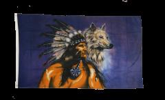 Flagge Indianer Wolf - 90 x 150 cm