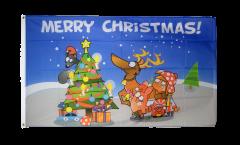 Flagge Merry Christmas bunt - 90 x 150 cm