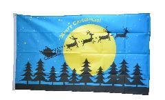 Flagge Merry Christmas Rentiere mit Schlitten und Mond - 90 x 150 cm