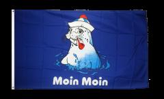Fahne Moin Moin Seehund mit Pfeife Flagge  Hissflagge 90x150cm