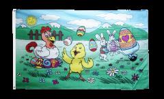 Flagge Ostern mit Küken und Henne
