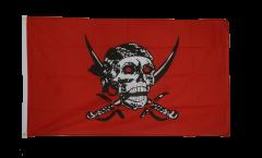 Flagge Pirat auf rotem Tuch - 90 x 150 cm