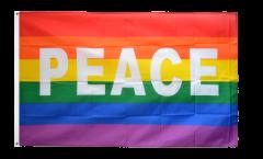 Flagge Regenbogen mit PEACE - 90 x 150 cm