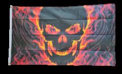 Flagge Totenkopf mit Feuer - 90 x 150 cm