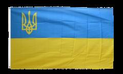 Flagge Ukraine mit Wappen links - 90 x 150 cm