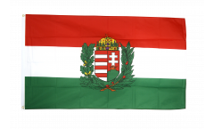 Flagge Ungarn mit Wappen - 90 x 150 cm