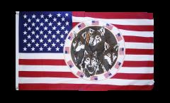 Flagge USA mit 4 Wölfen - 90 x 150 cm