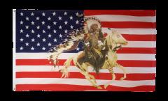 Flagge USA mit Häuptling auf Pferd - 90 x 150 cm