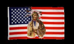 Flagge USA mit Indianer - 90 x 150 cm