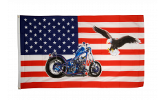 Flagge USA mit Motorrad - 90 x 150 cm