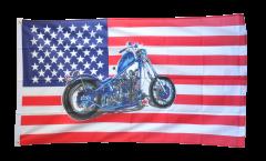 Flagge USA mit Motorrad ohne Adler - 90 x 150 cm