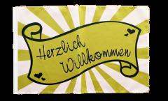 Flagge Herzlich Willkommen Banderole - 30 x 45 cm