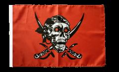 Flagge Pirat auf rotem Tuch - 30 x 45 cm