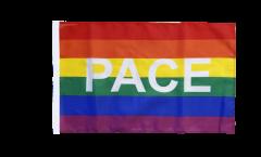 Flagge mit Hohlsaum Regenbogen mit PACE