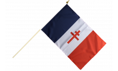 Stockflagge Frankreich mit Lothringerkreuz - 30 x 45 cm