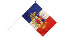 Stockflagge Frankreich mit Wappen - 30 x 45 cm