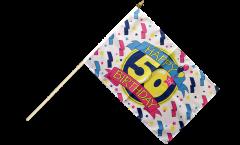 Stockflagge Happy Birthday 50 - 30 x 45 cm