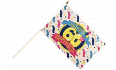 Stockflagge Happy Birthday 60 - 30 x 45 cm